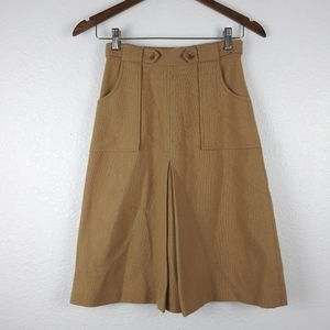 VINTAGE COLLEGE TOWN Tan Pleated A-Line Wool Skirt